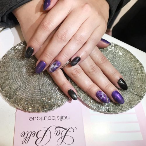 Marble purple nails art mani